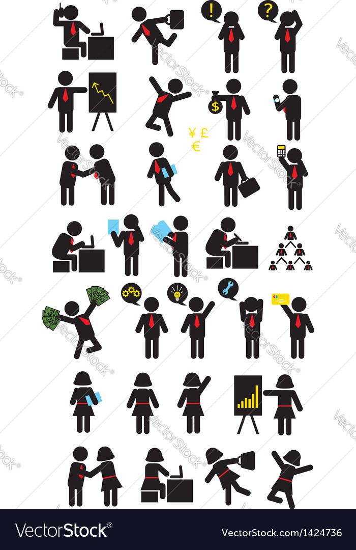 Business pictogram icons vector