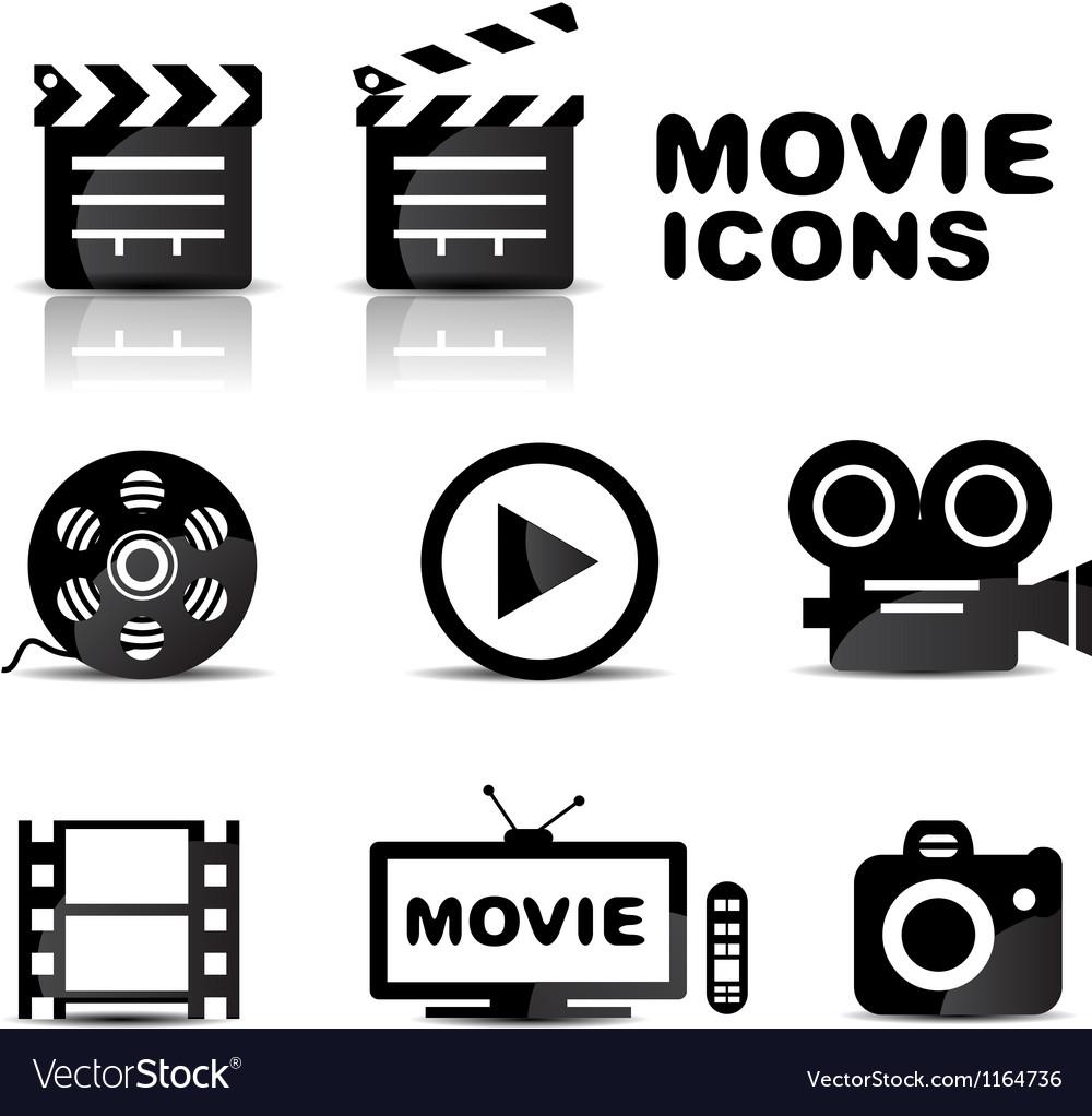 Movie black glossy icon set vector