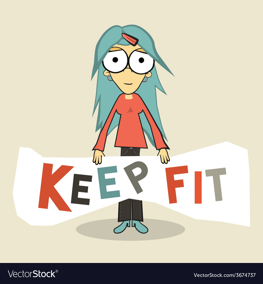 Keep fit girl vector