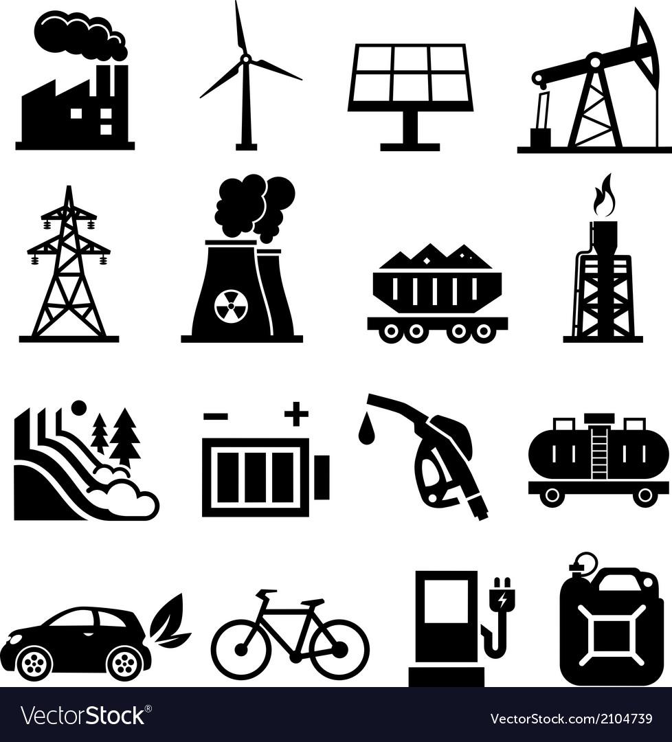 Energy icons black vector