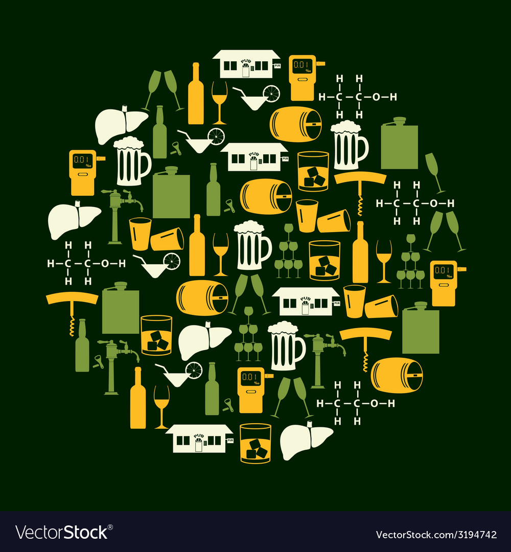 Alcohol drinks icons set in color circle eps10 vector