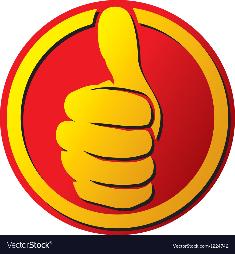 Hand showing thumbs up button vector
