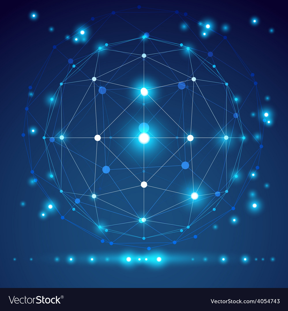 Abstract geometric 3d mesh object modern digital vector