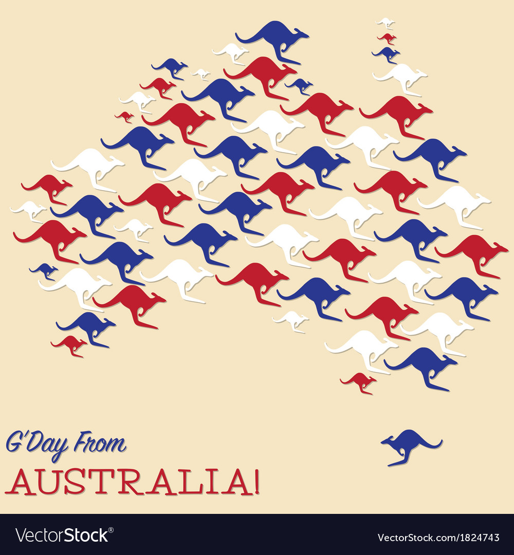 Australian map made from kangaroos in format vector