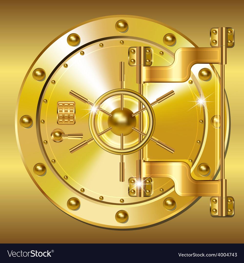 Gold bank doors vector