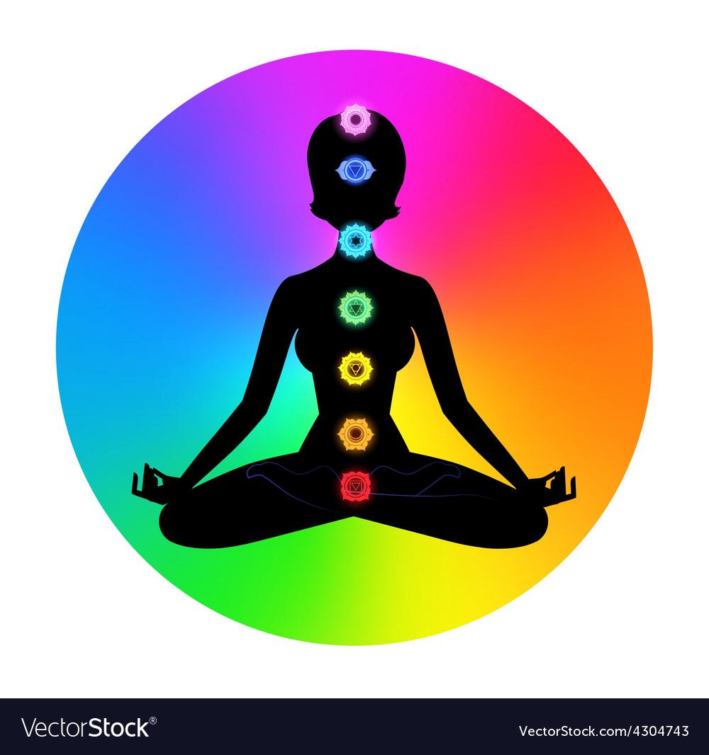 Woman meditation vector