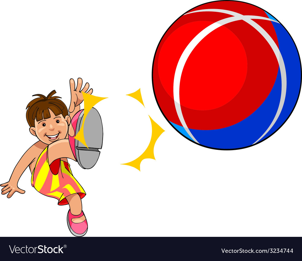 Baby kicks the ball vector