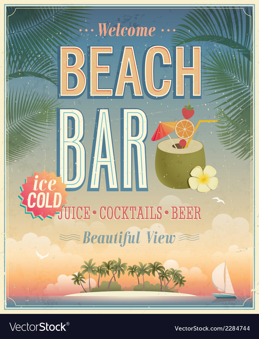 Beach bar sunset vector