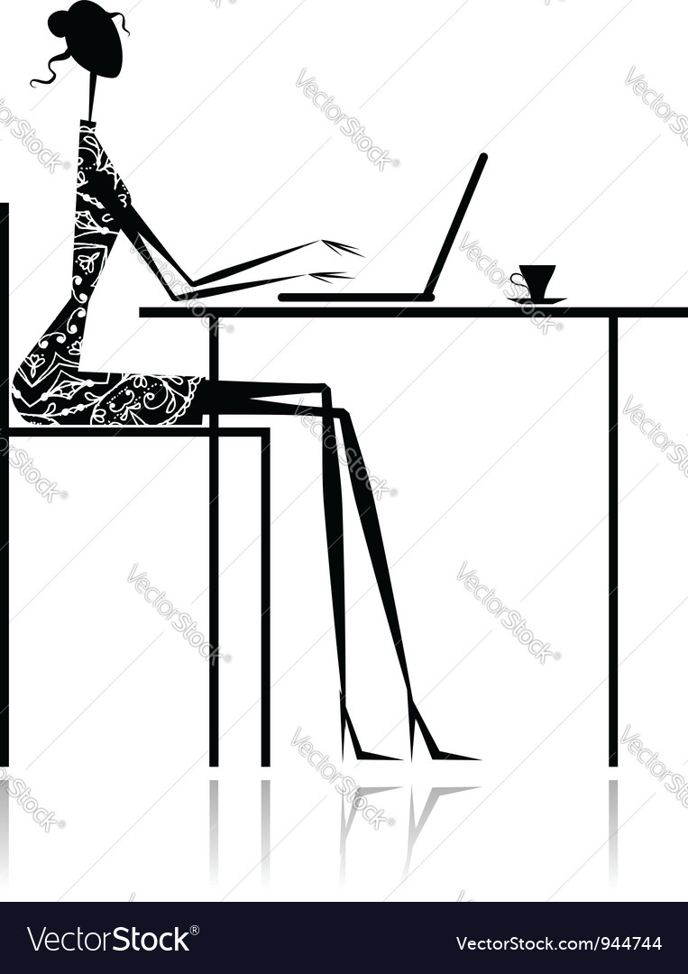 Fashion girl silhouette with laptop in cafe vector