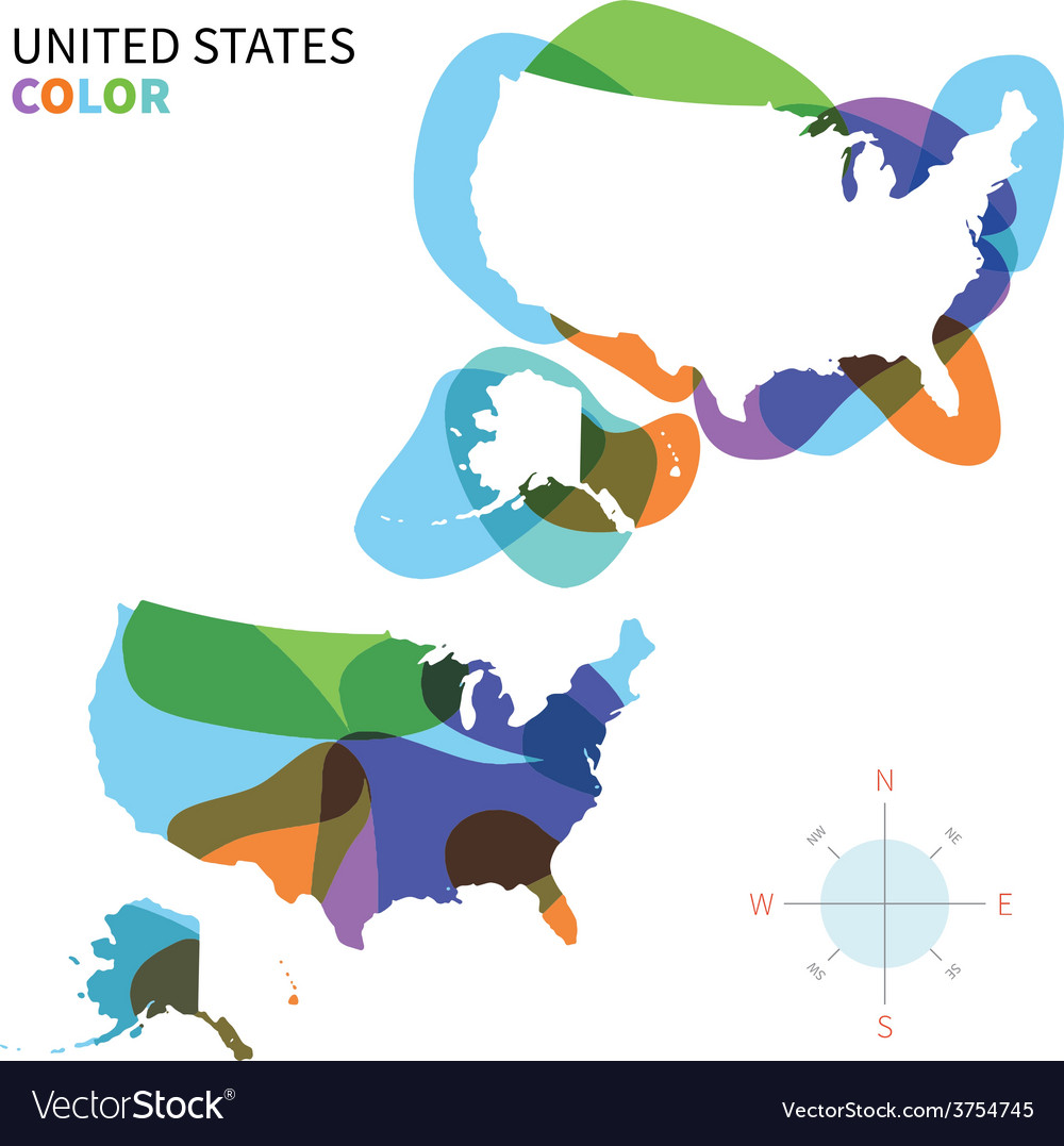Abstract color map of united states vector