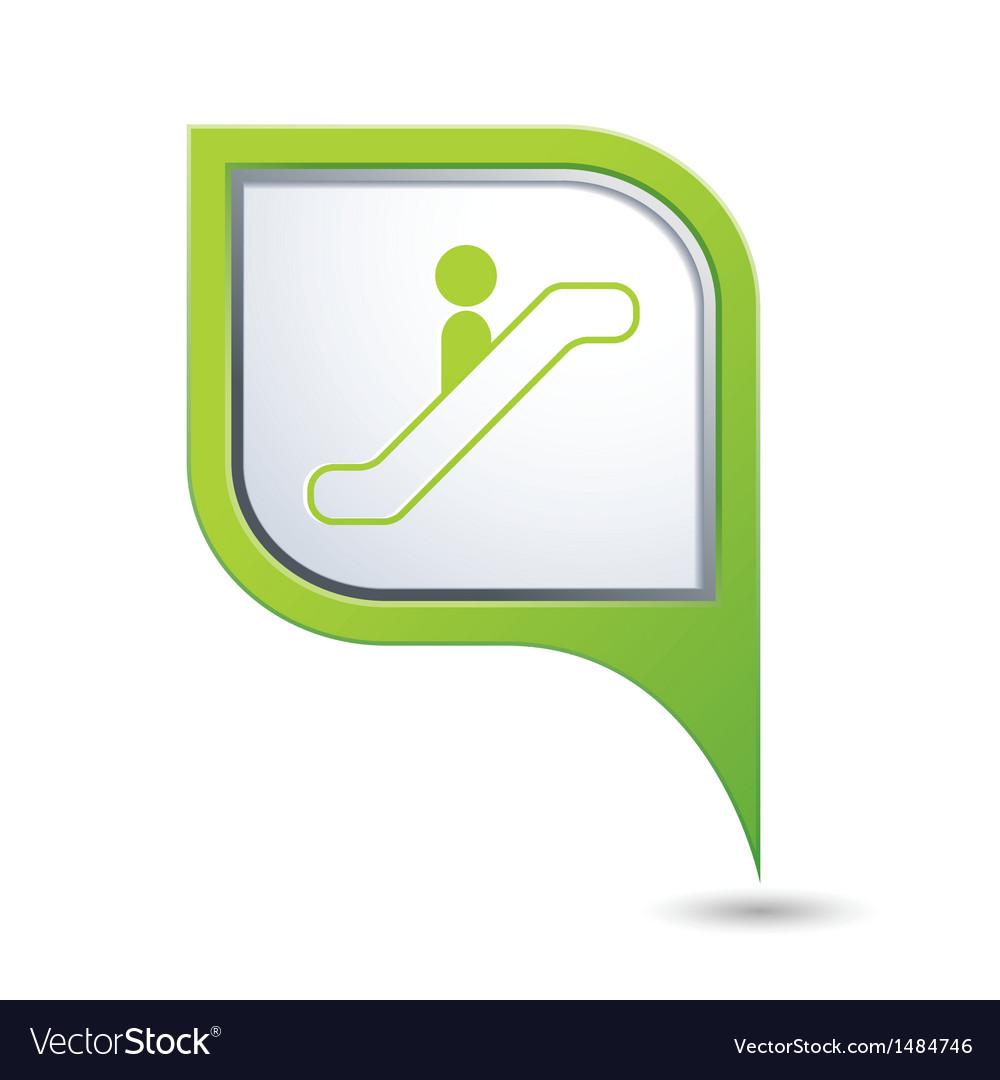 Escalator icon on green map pointer vector