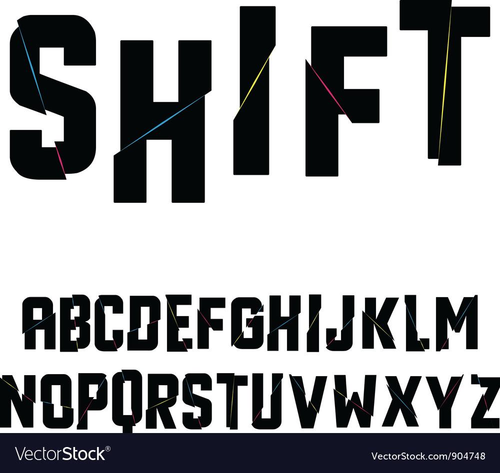 Abstract shift alphabet vector