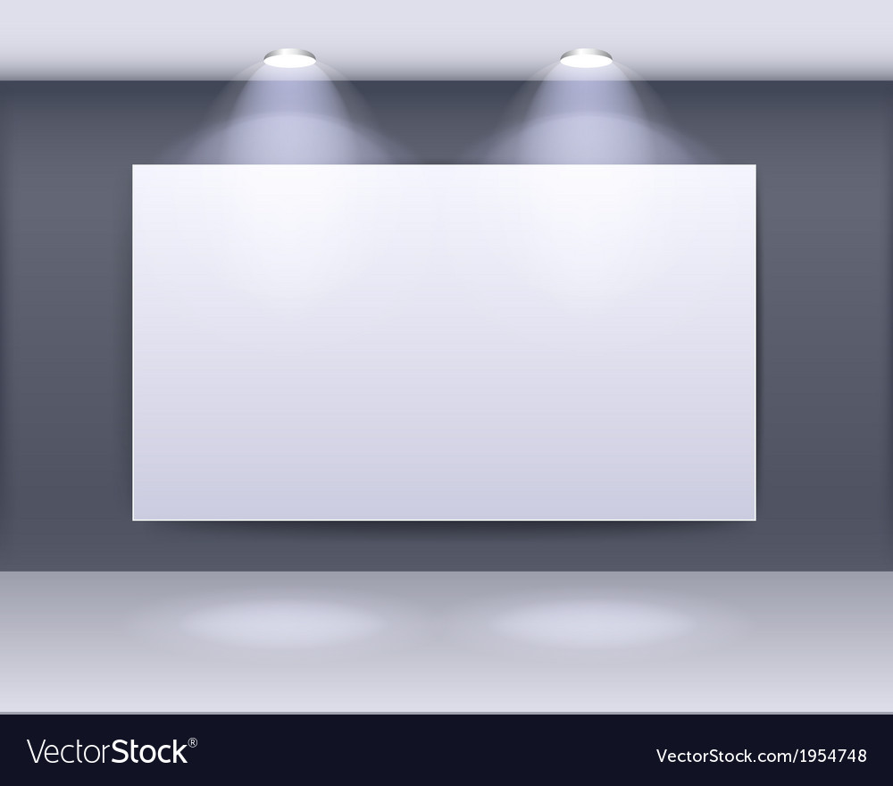 Art gallery frame design with spotlights vector
