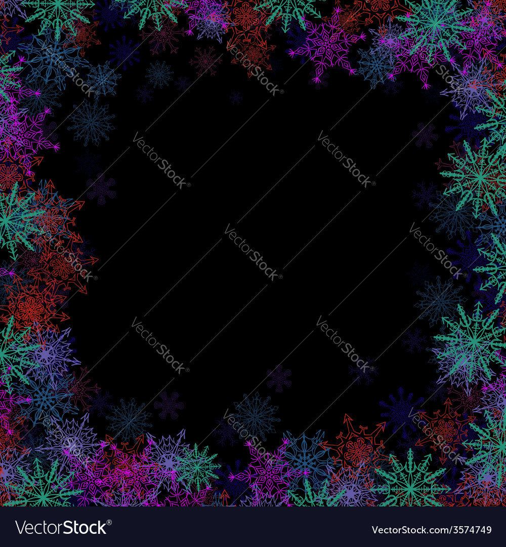 Rectangular frame with small colorful snowflakes vector