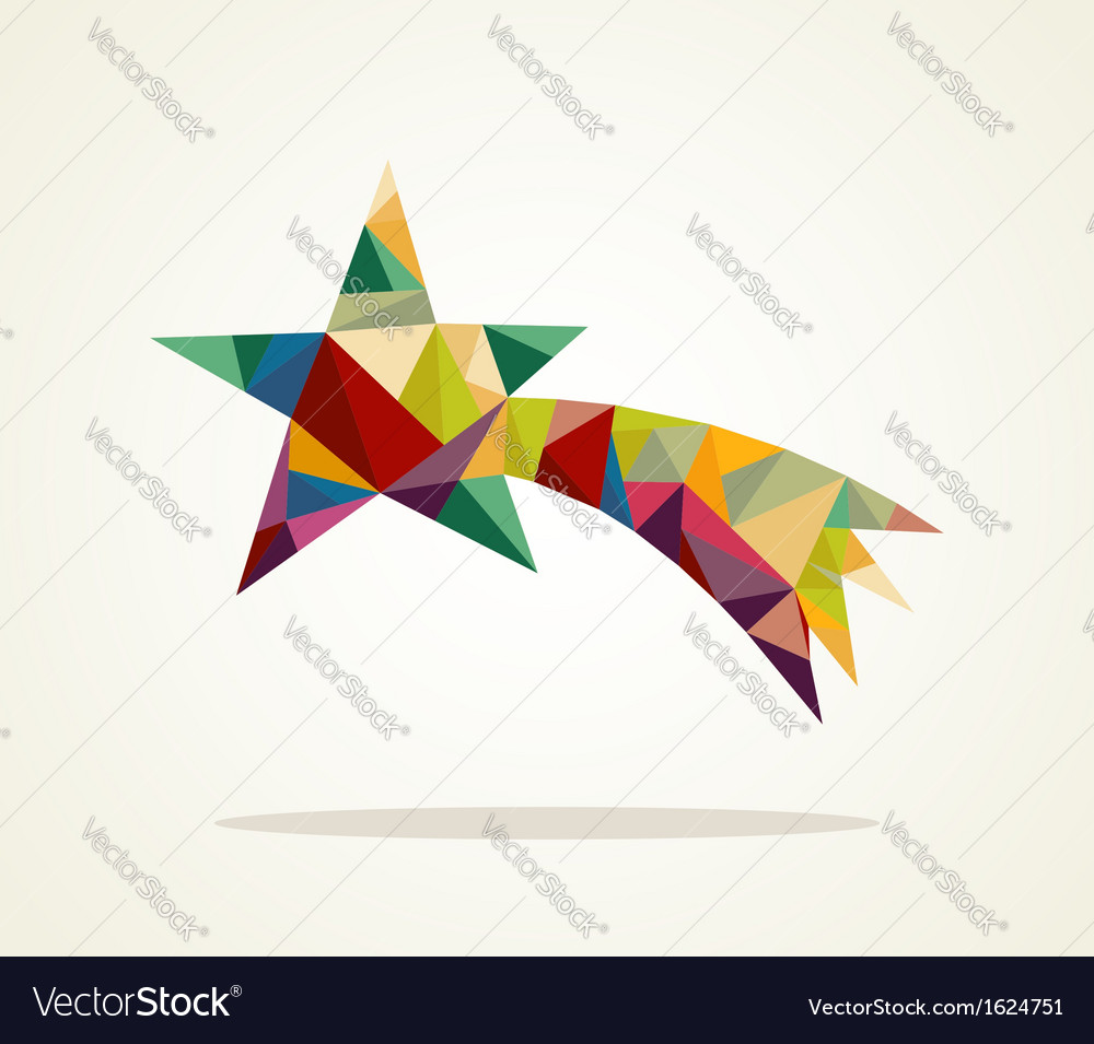 Merry christmas trendy shooting star composition vector