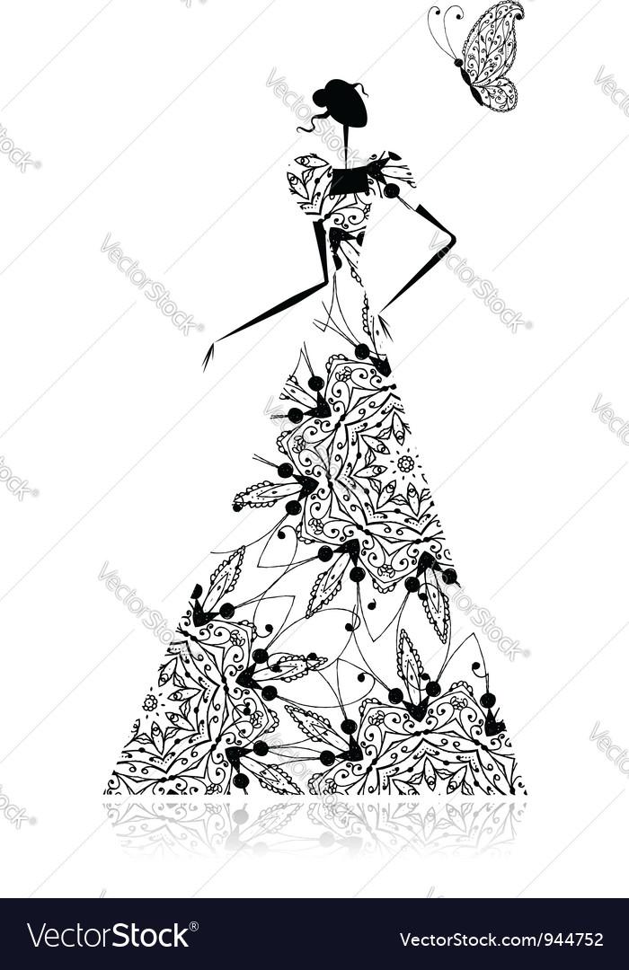 Fashion girl silhouette in wedding dress vector
