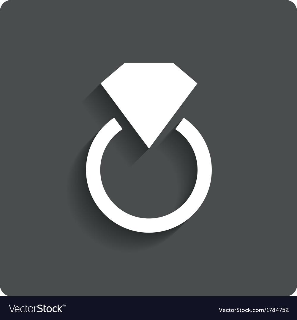 Wedding ring with diamond jewelry icon love vector