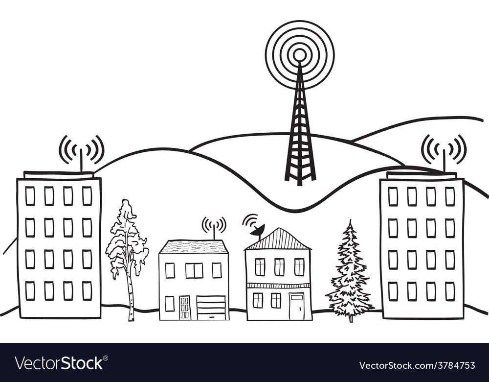 Wireless signal of internet vector