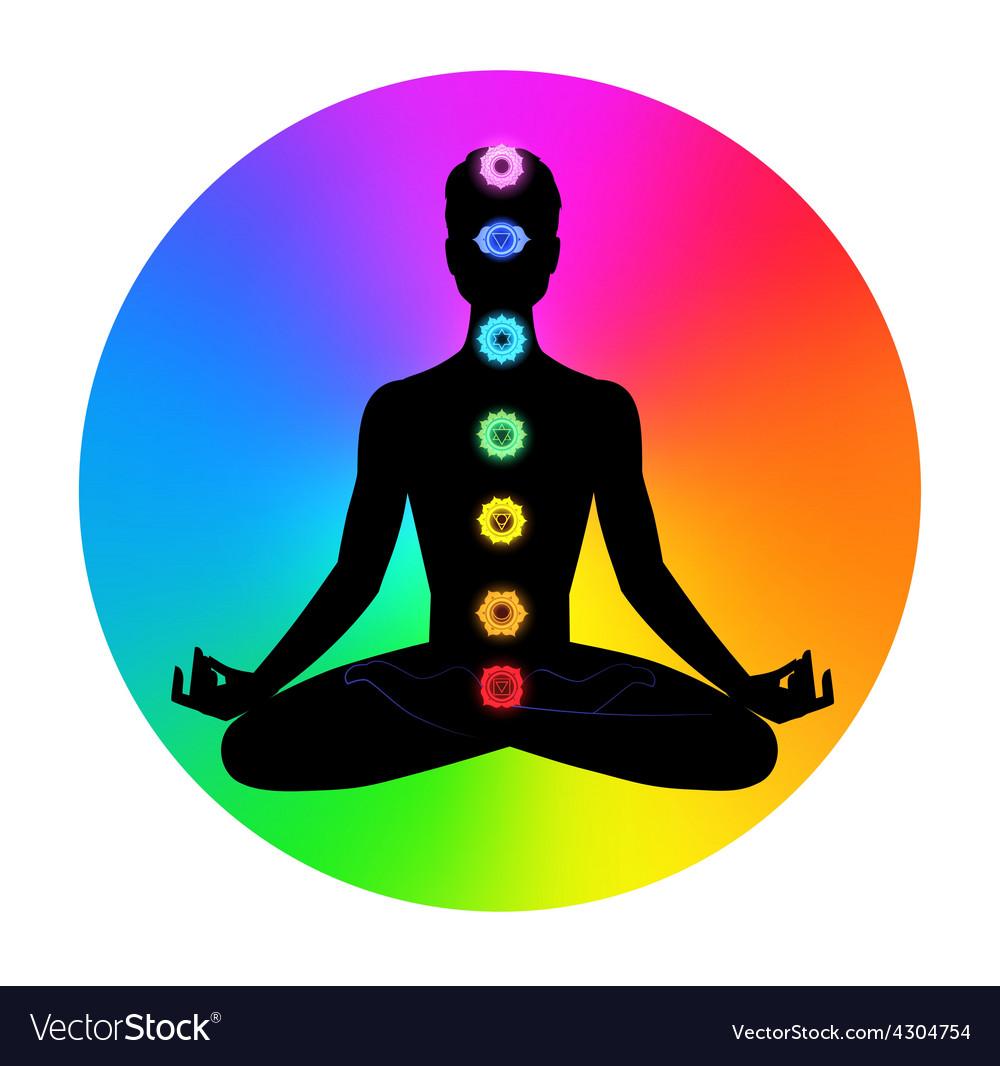 Man meditation vector