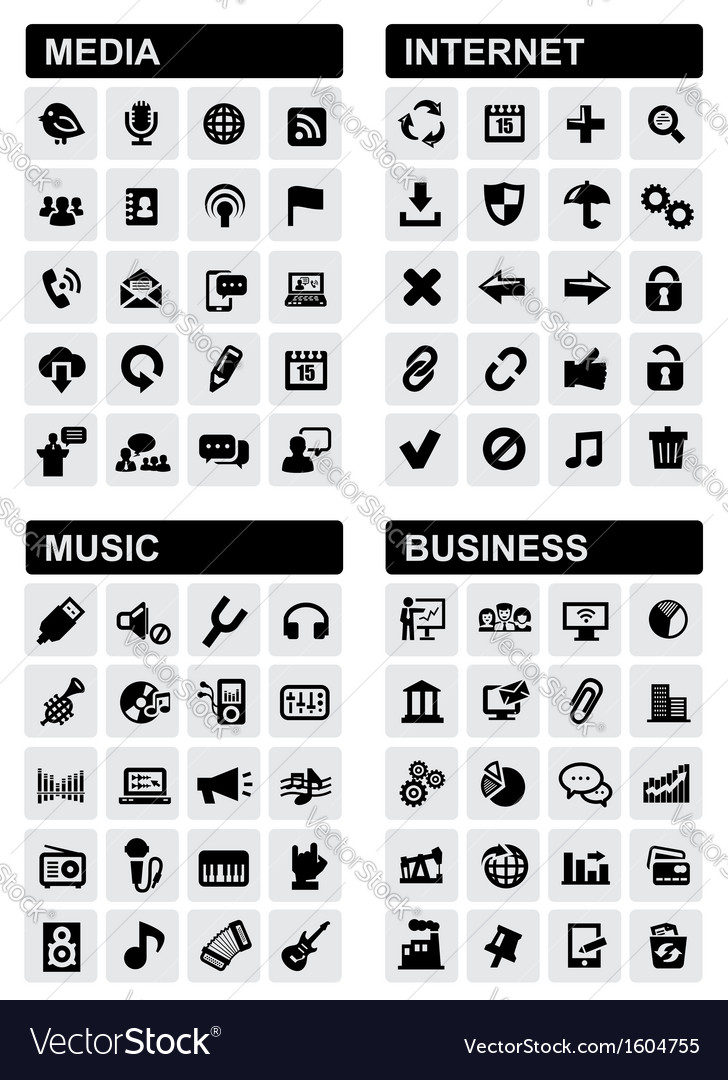 Business music internet and media vector