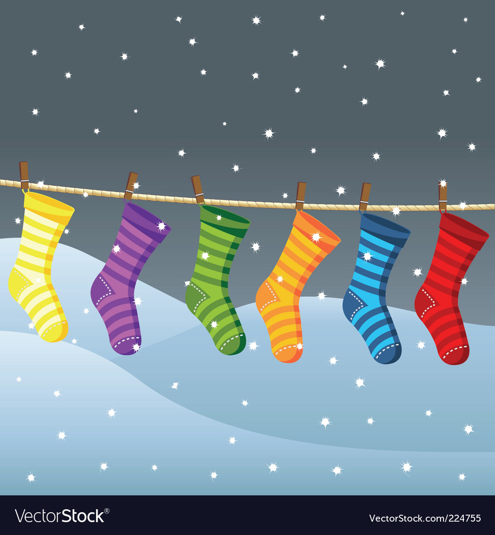 Clothes line for christmas socks vector
