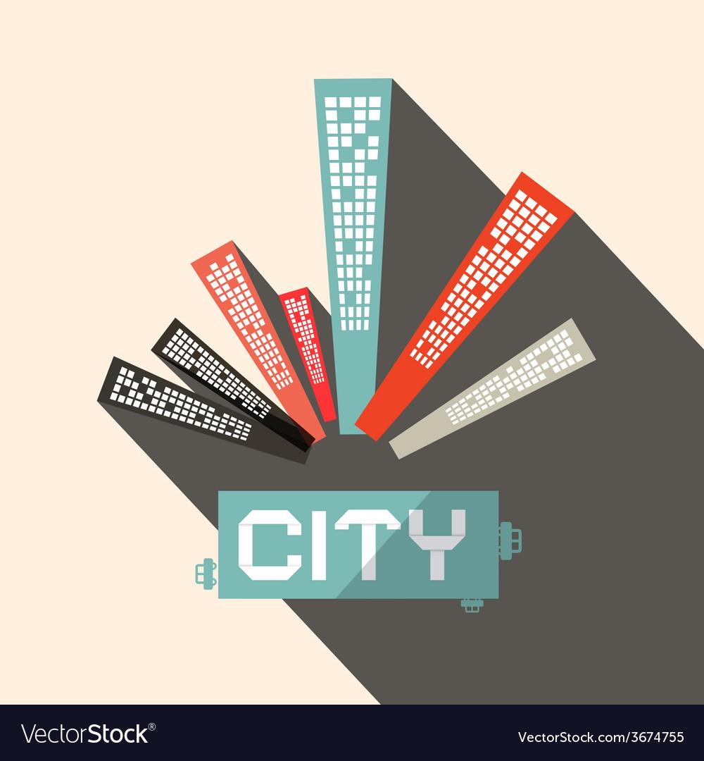 Long shadow flat design city vector