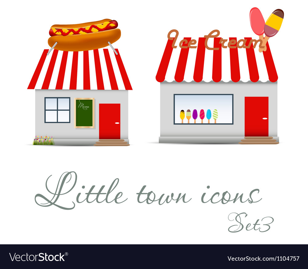 Little town icons set vector