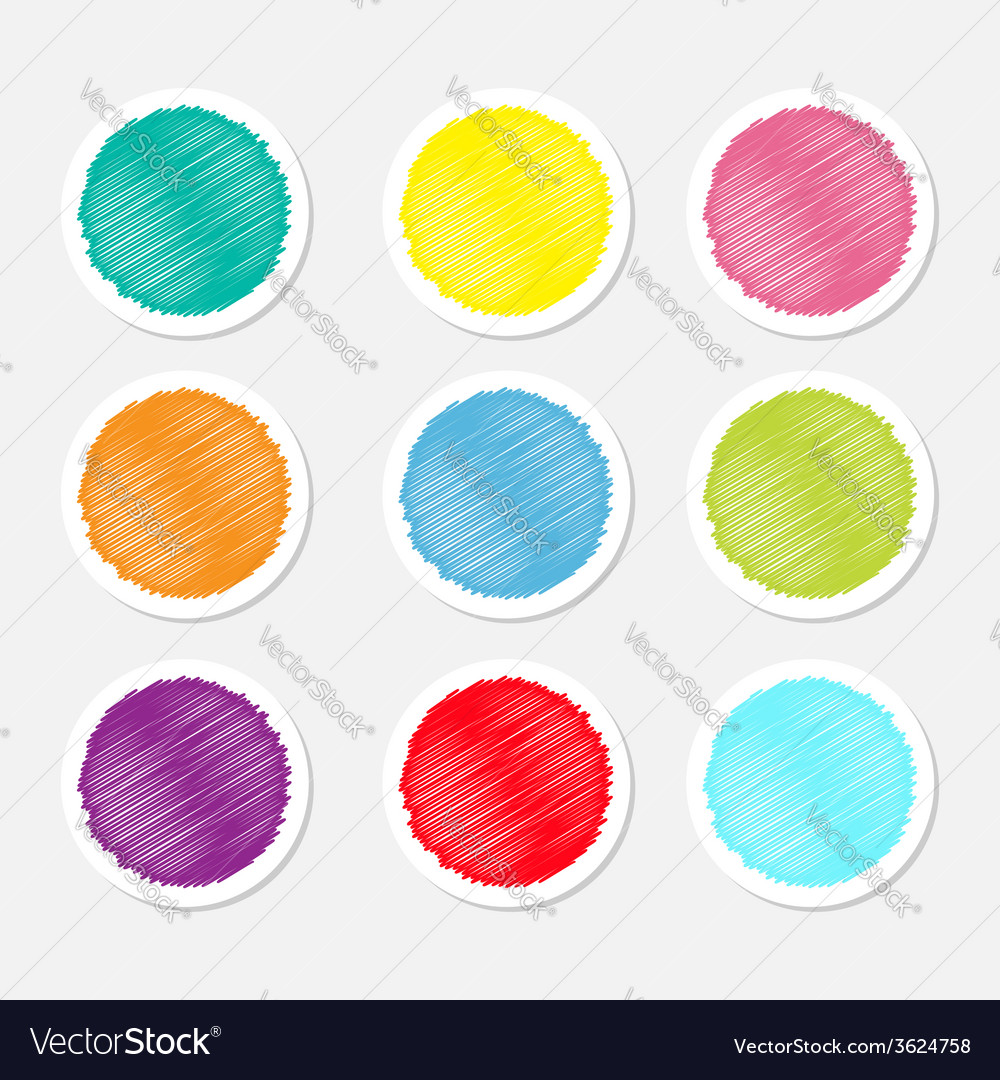 Set of blank colorful round label buttons tag vector