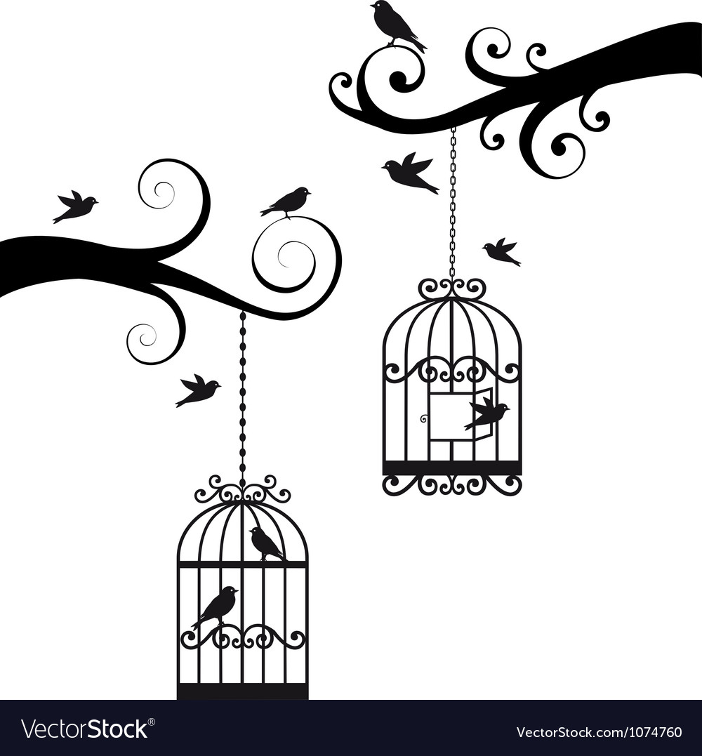Branches with birdcages vector