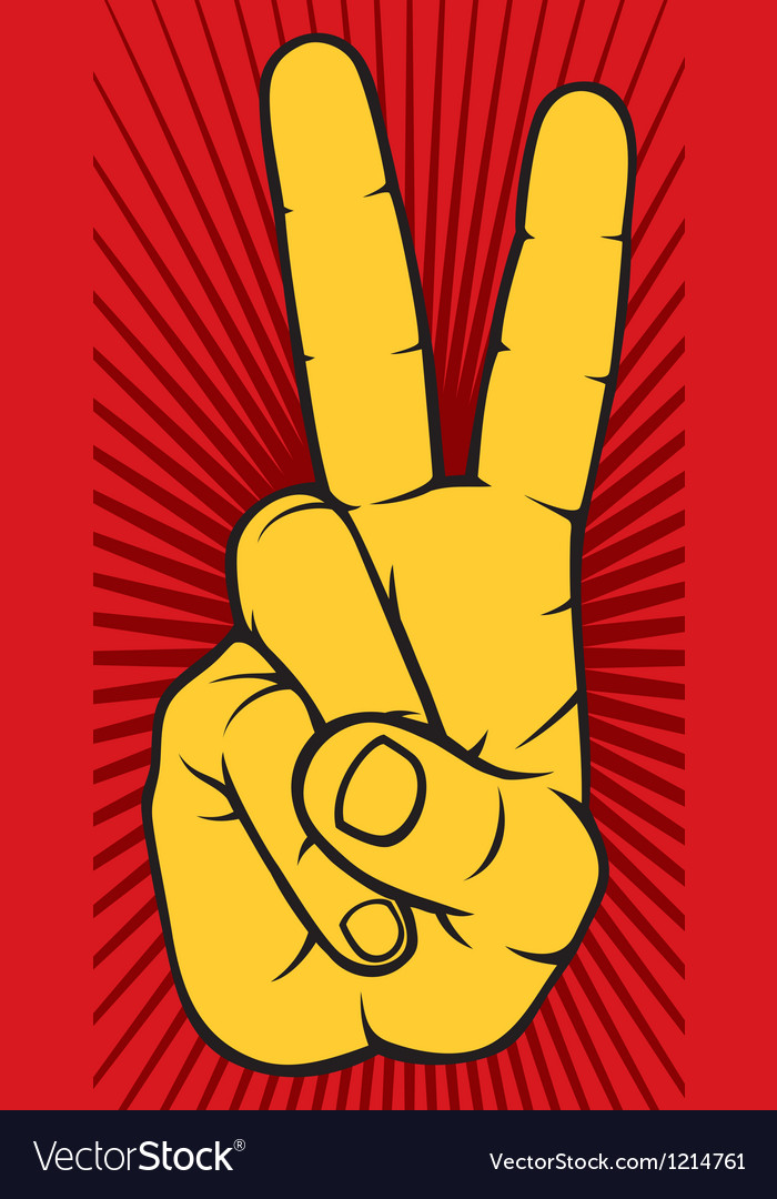 The victory sign hand gesture vector