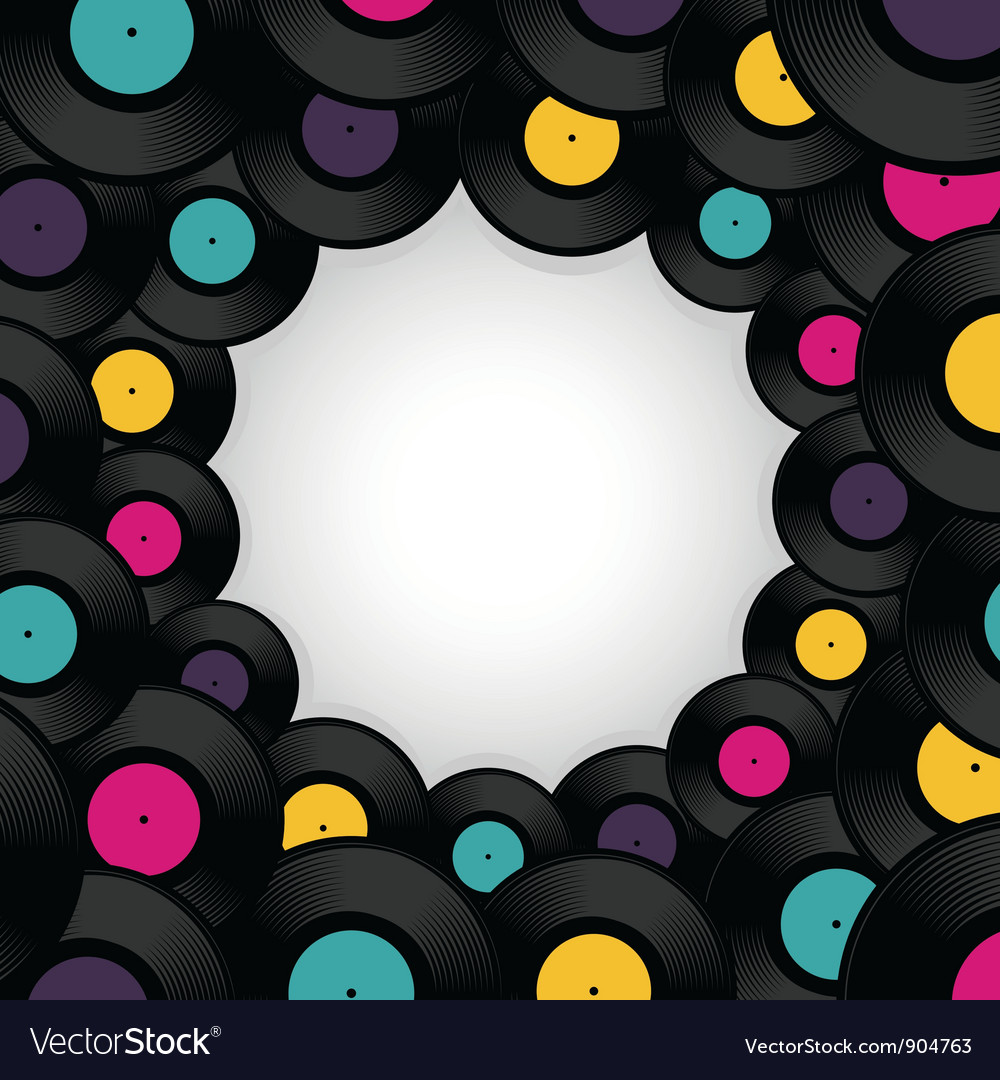 Vinyl record background with space for text vector