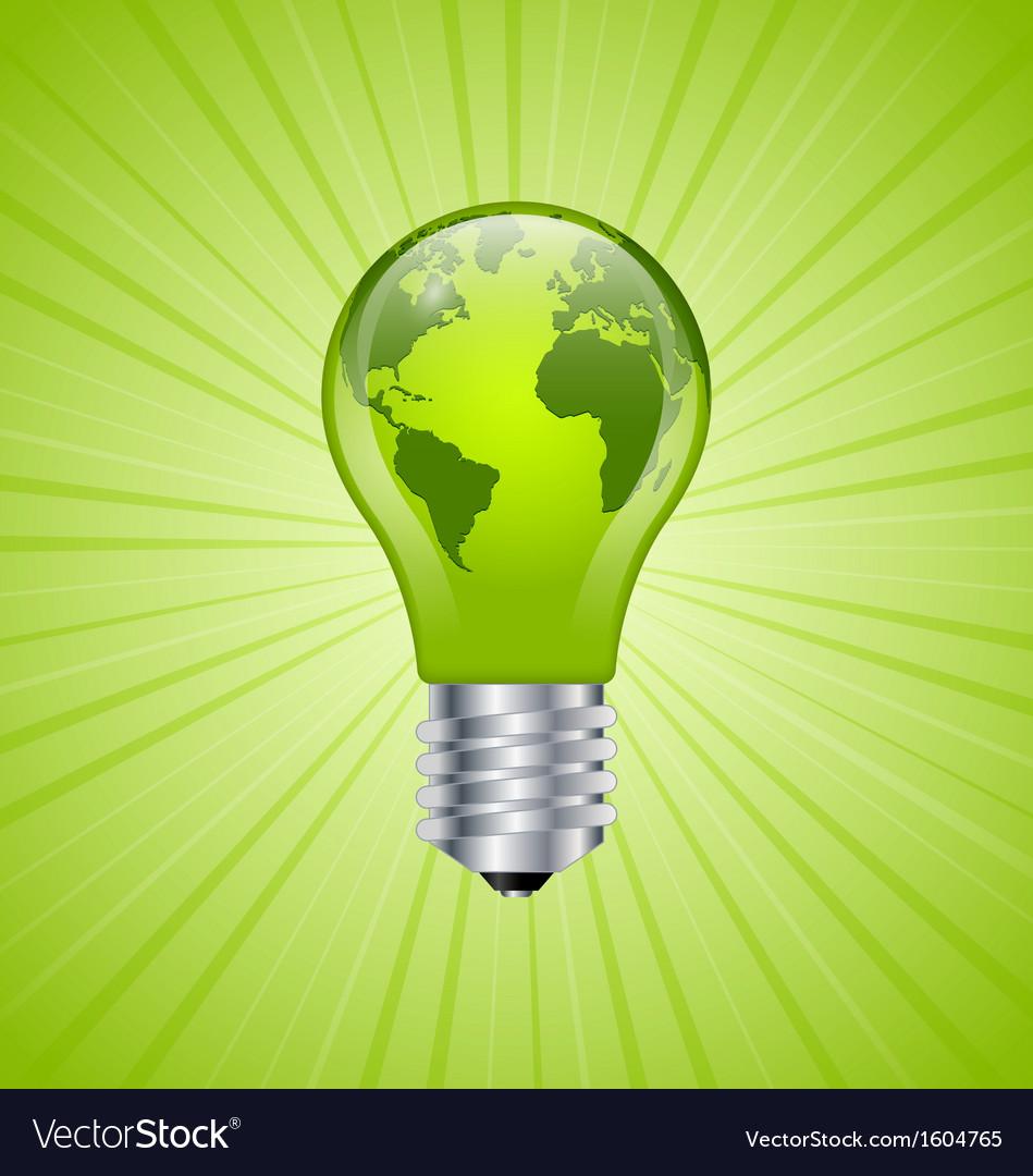 Light bulb earth icon vector