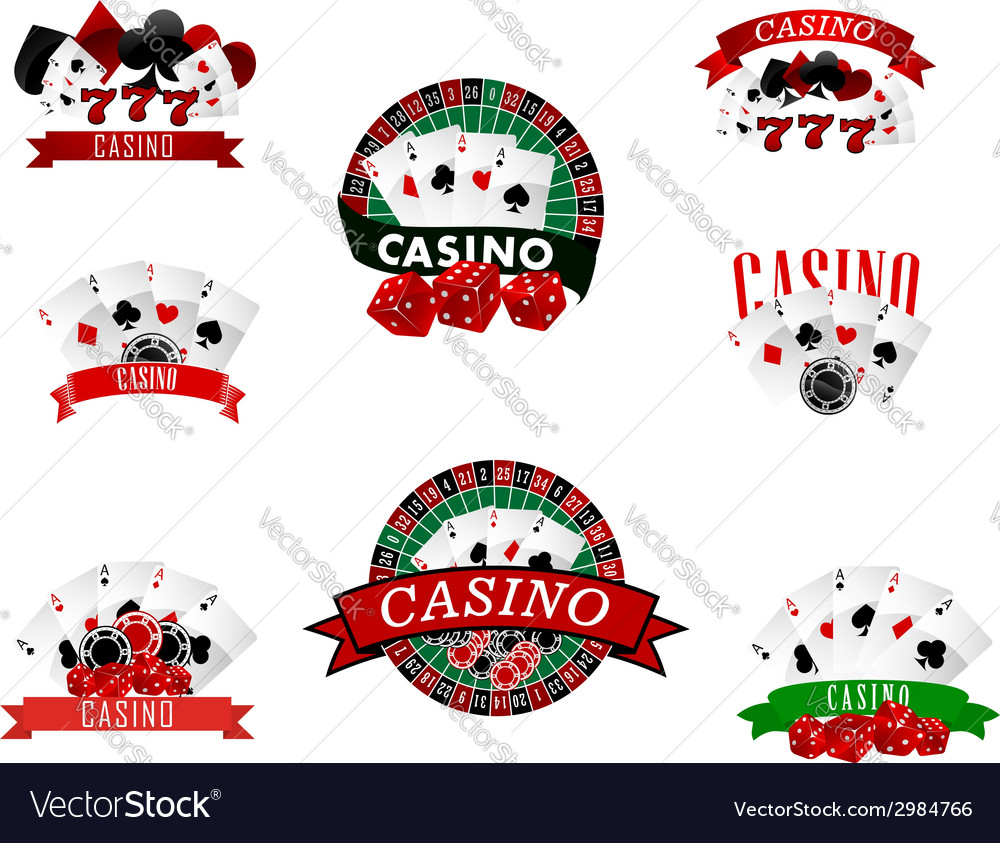 Casino and gambling badges icons or emblems vector