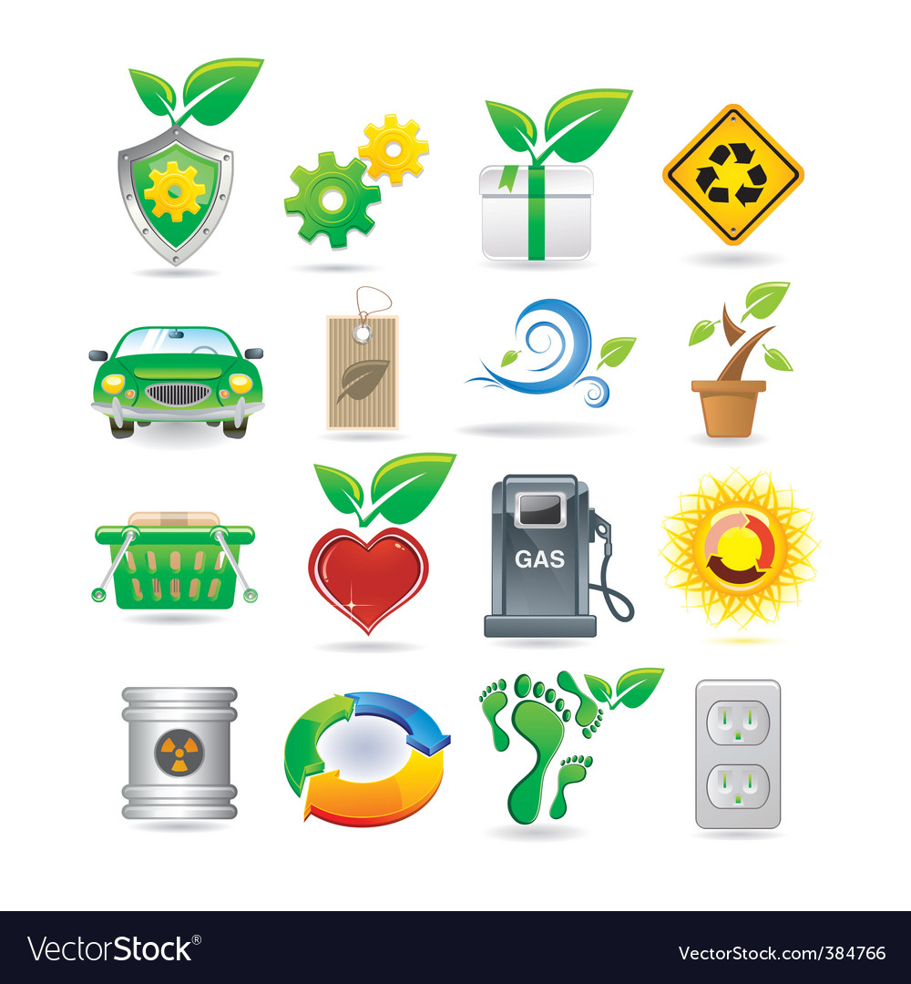 Set of environment icons vector