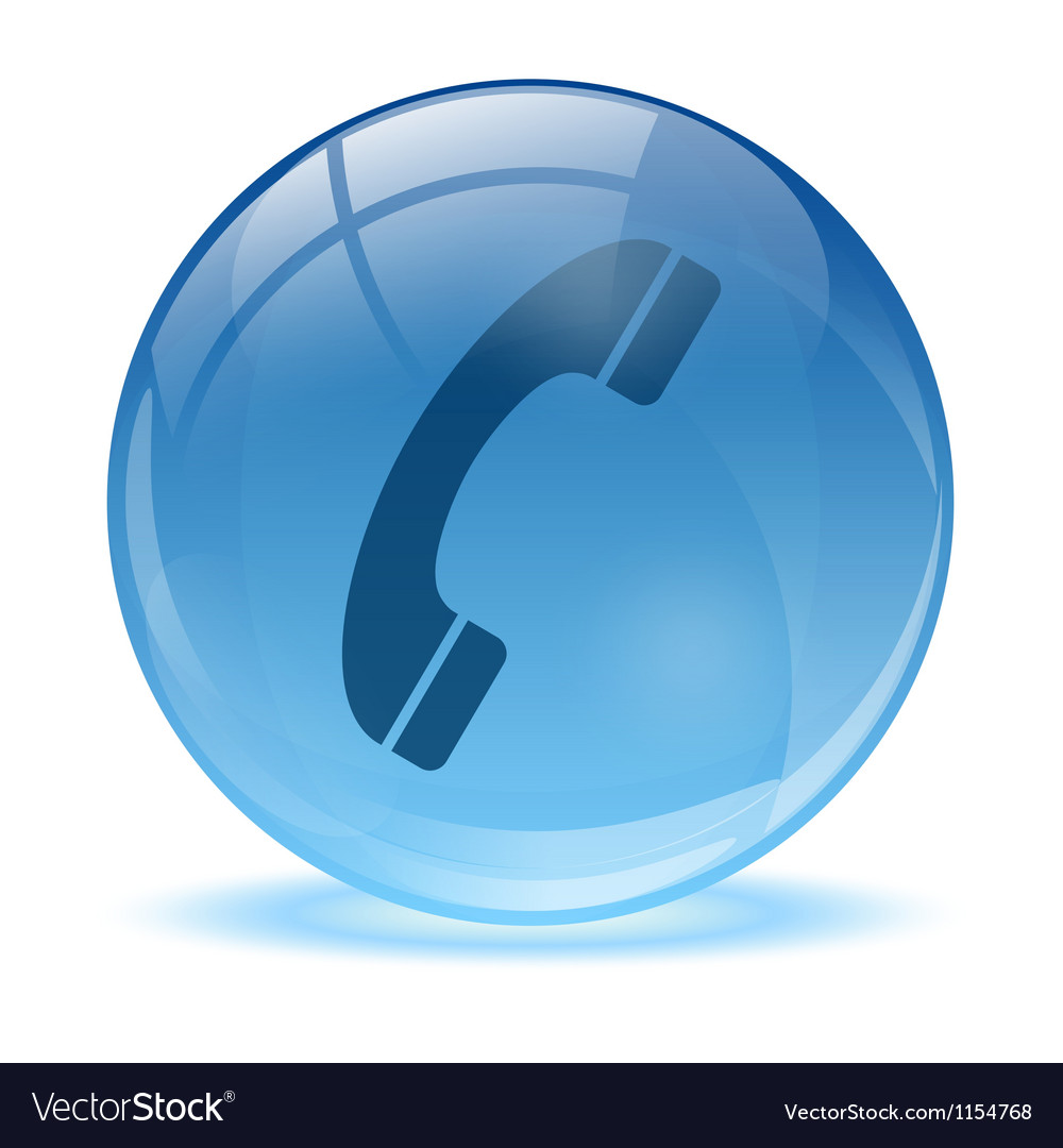 3d glass sphere phone icon vector
