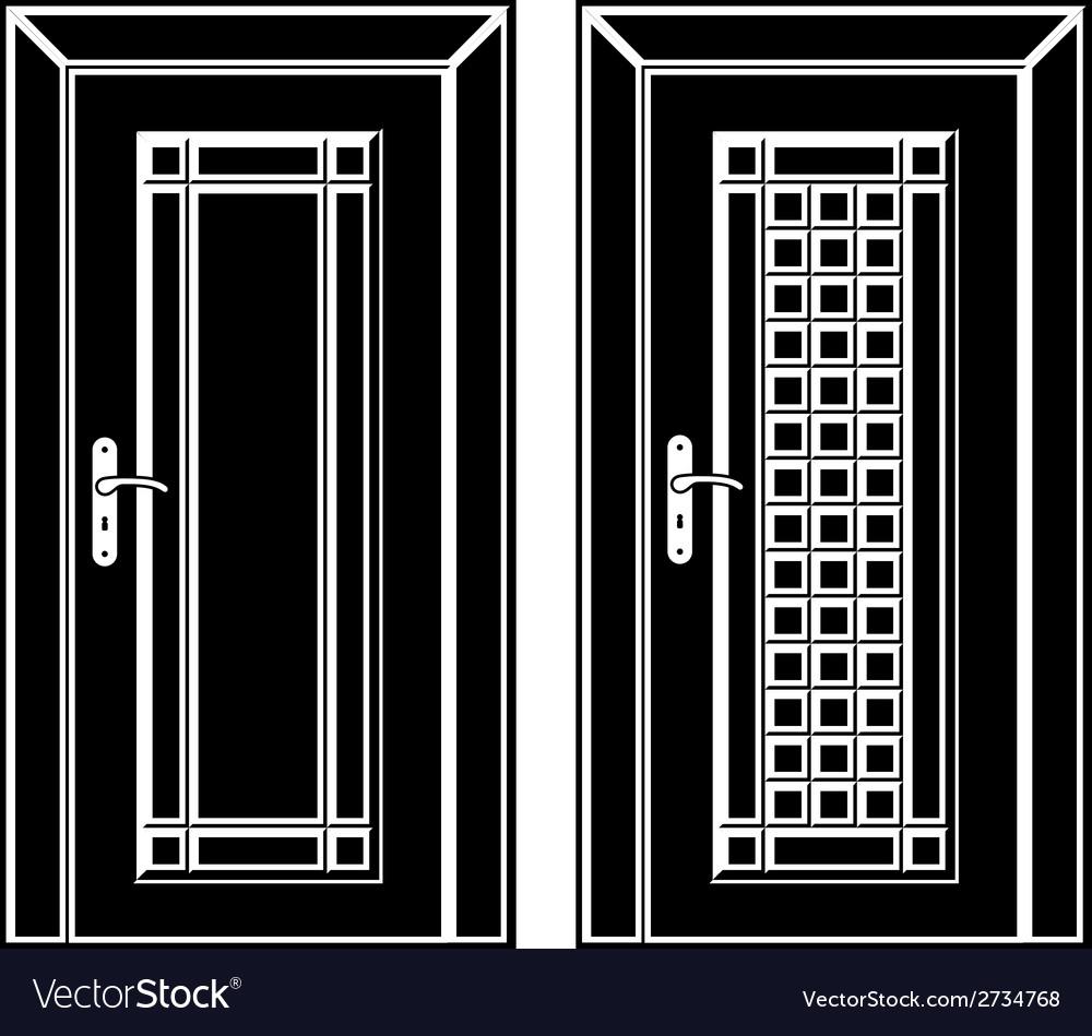 Antique wooden door black icons vector