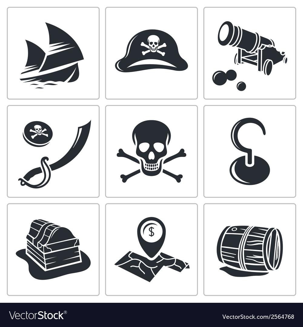 Pirates icon collection vector