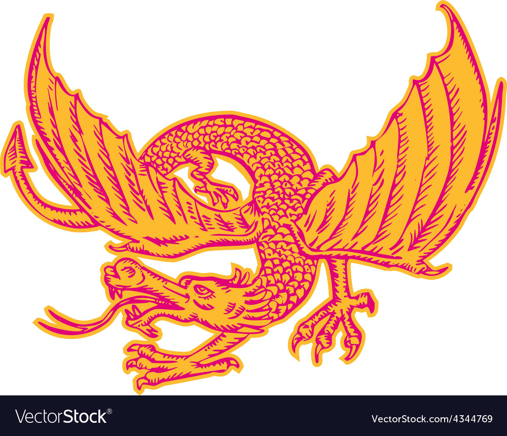 Dragon medieval front etching vector