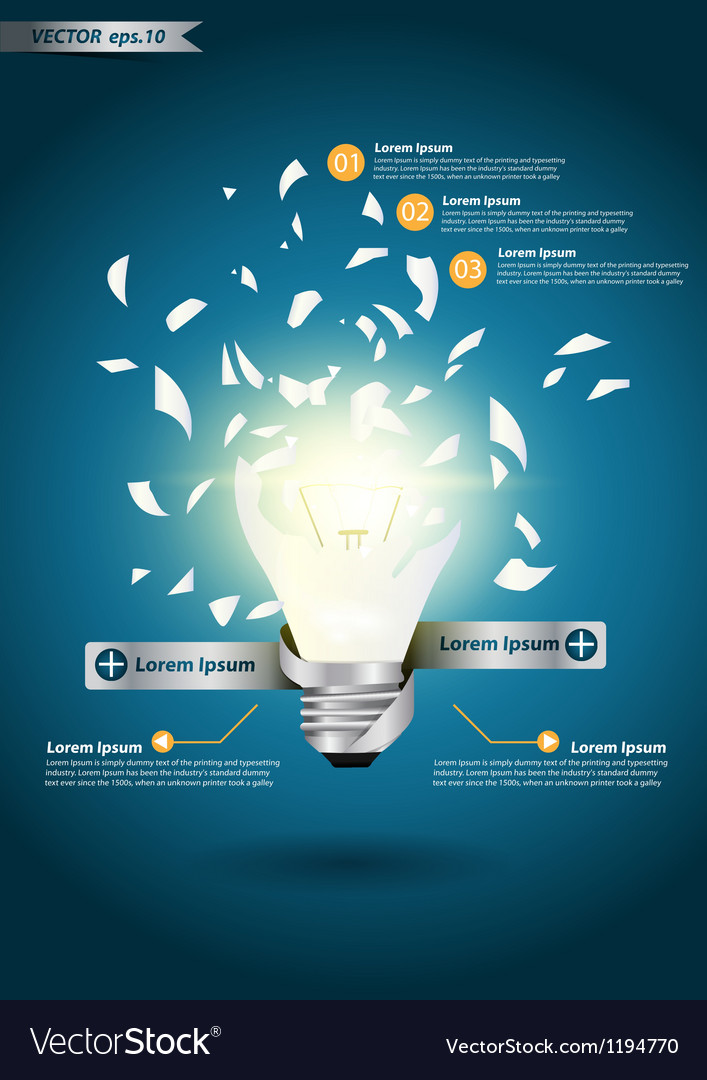 Creative template with idea bulb explode vector