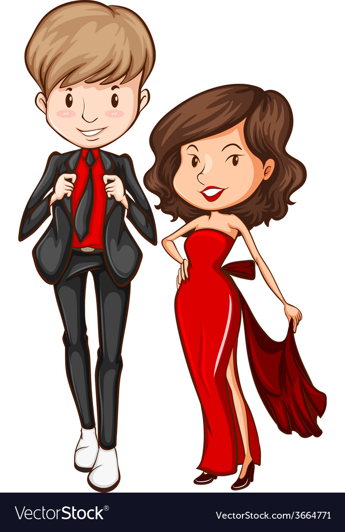 Lovers in their formal attire vector