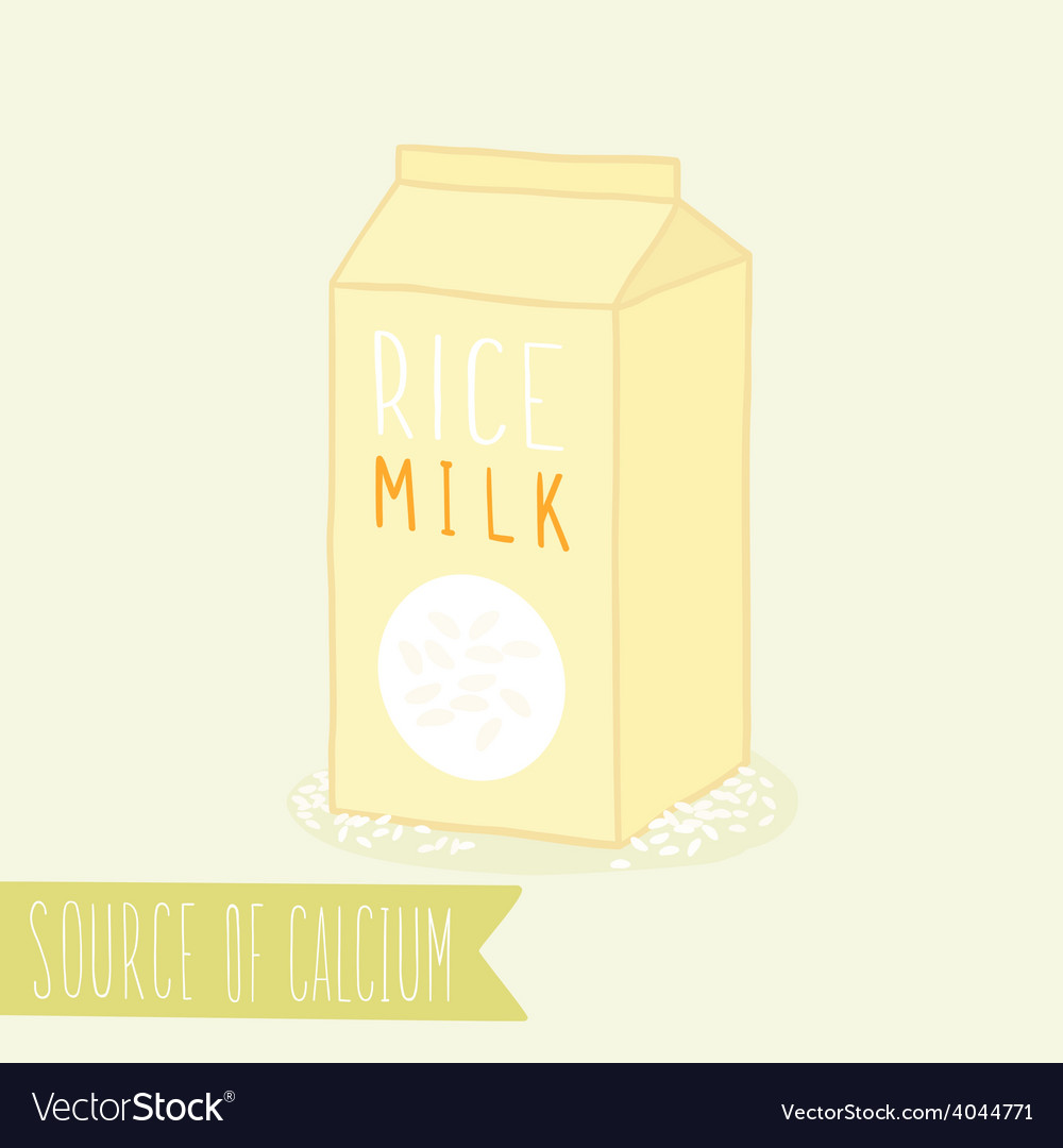 Rice milk in package vector