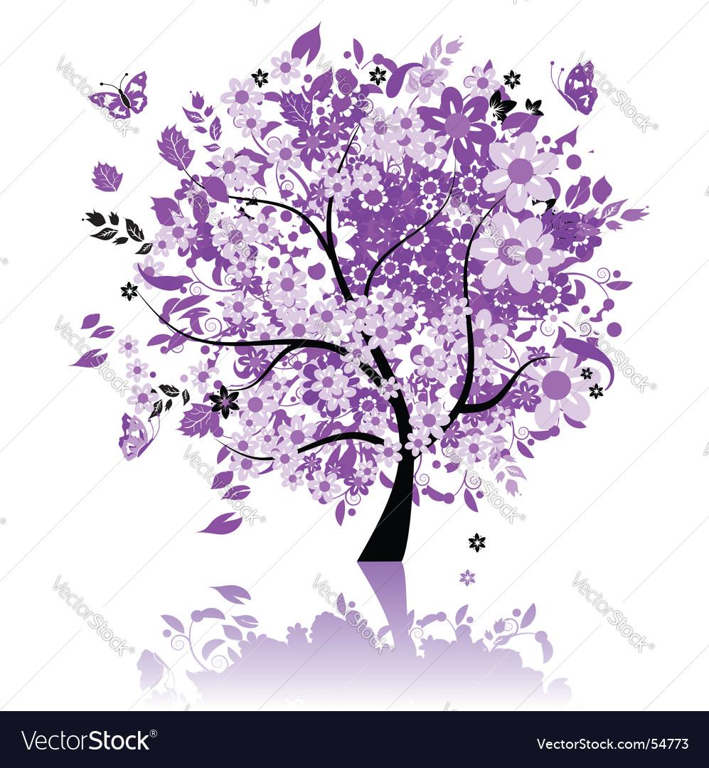 Floral tree vector