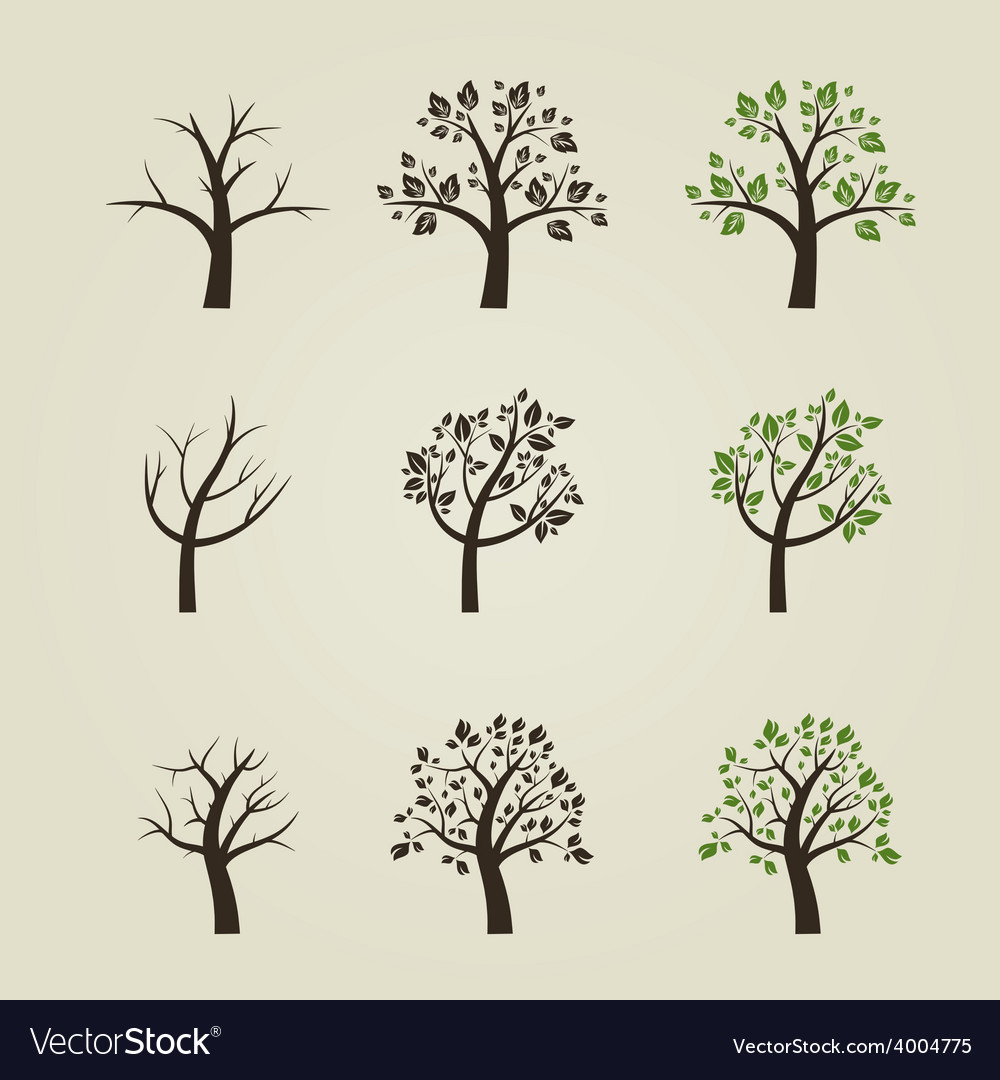 Set of different trees silhouette with roots and vector