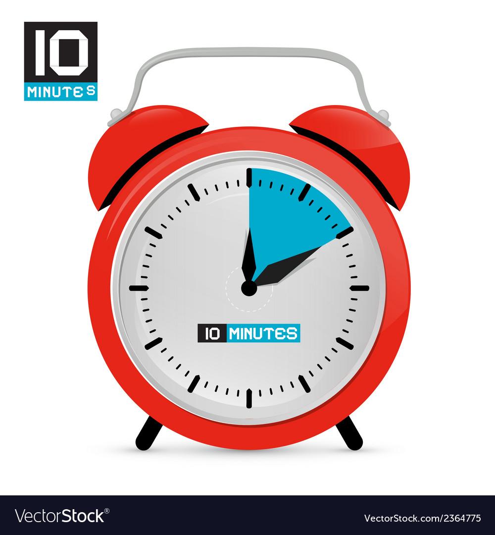 Ten 10 minutes red alarm clock vector