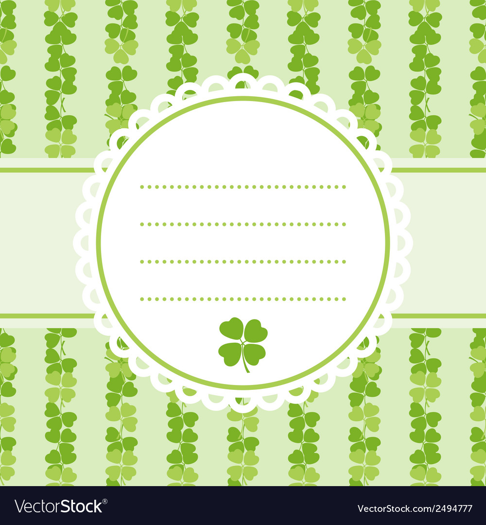 Decorative flower background with clover and place vector