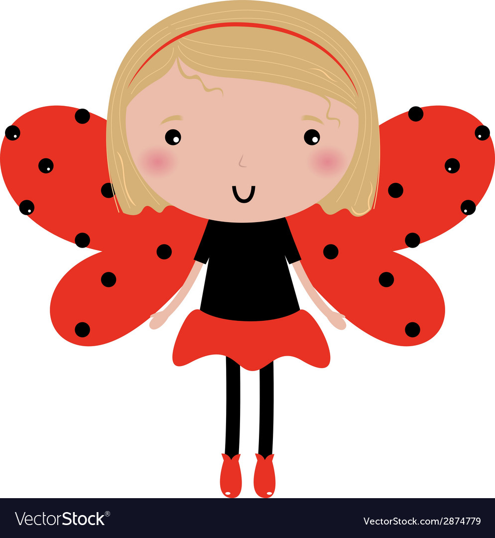 Beautiful ladybug girl with red dotted wings vector
