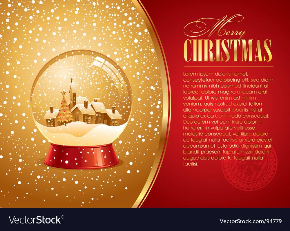 Christmas card with snow globe vector