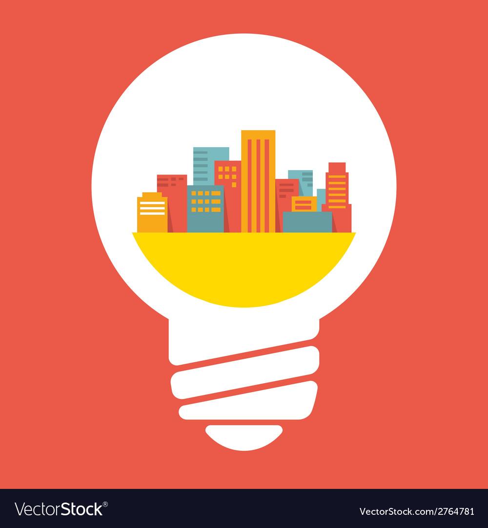 A large city in lightbulb vector