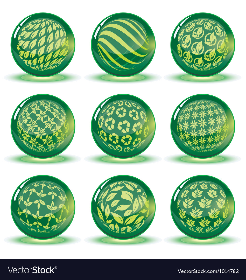 Green glossy spheres set vector