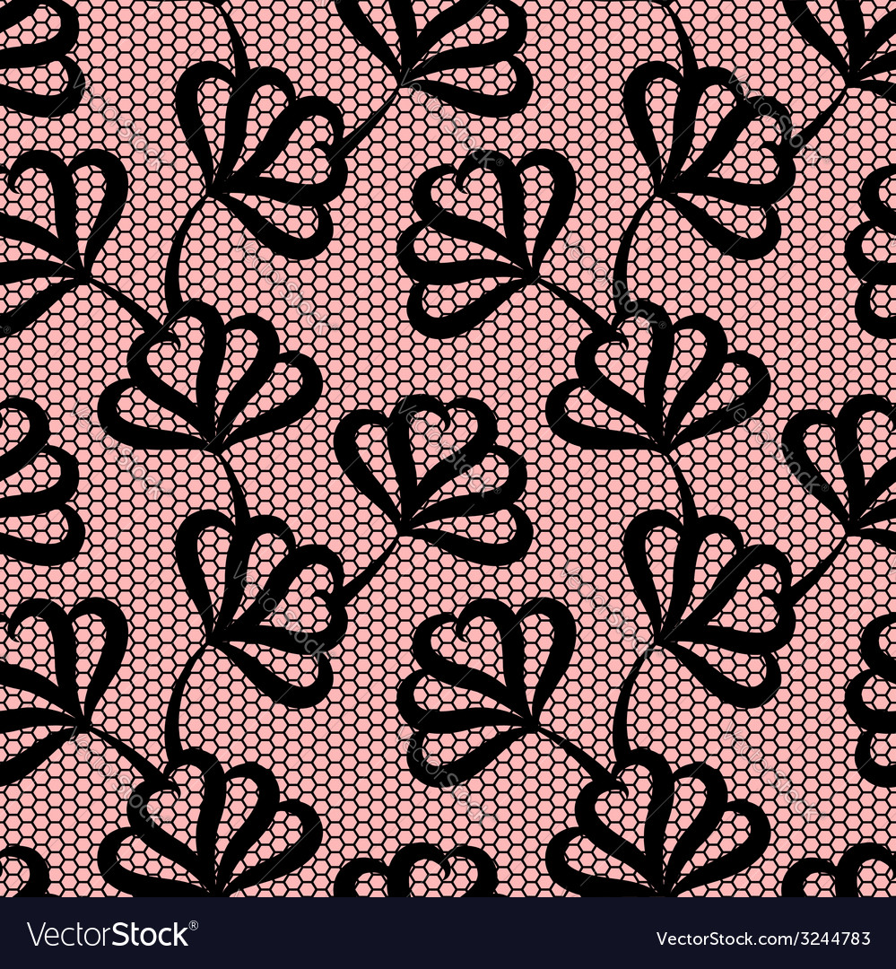 Black seamless floral pattern on pink background vector